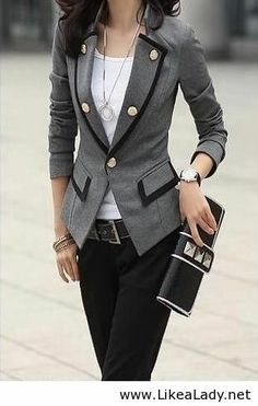 Casual office look with grey blazer - work wear - career attire - work clothes.Love the blazer! Style Work, Mode Style, Office Style, Casual Office, Smart Casual, Office Wear, Fall Outfits For Work, Edgy Work Outfits, Spring Outfits