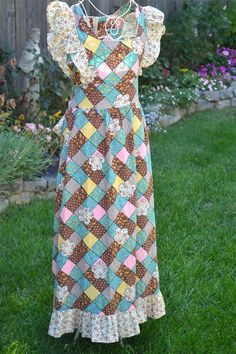 Vintage Prairie Dress - Calico Patchwork Maxi from the 1970s