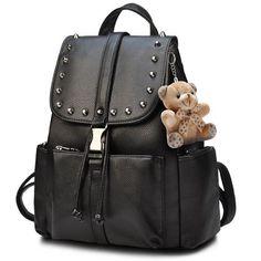 e467666511b6 Black Punk Rivet School Rucksack Bear Doll PU Travel Backpack – FoWish.com   backpack