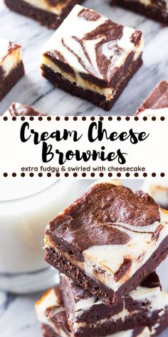 These cream cheese brownies are rich and fudgy with a swirl of cheesecake. The tanginess of the cheesecake layer balances out the extra chocolate-y brownies making these the perfect decadent brownie recipe. These cream cheese brownies are rich and. Chewy Brownies, Best Brownies, Chocolate Cheesecake Brownies, Baking Brownies, Cookie Dough Cake, Chocolate Chip Cookie Dough, Baking Recipes, Cookie Recipes, Desserts