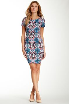 WAYF Short Sleeve Tiki Print Bodycon Dress by WAYF on @nordstrom_rack