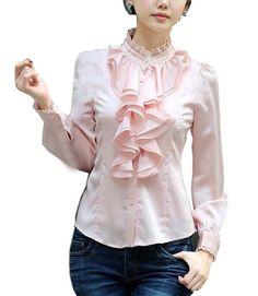 Elegant OL Damen Blusen Langarm Hemdblusen Business Stehkragen mit Volants Rüschung Slim Fit Chiffonbluse (34/Hersteller Gr. S, Rosa)