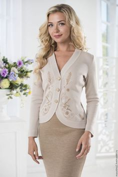 """Women's classic knitted two-piece suit """"Delicate beige"""" jacket with delicate hand embroidery and pencil skirt Kinds Of Clothes, Clothes For Women, 2000s Clothing, Women's Clothing, Over 50 Womens Fashion, Knitted Poncho, Feminine Style, Look Fashion, Pretty Outfits"""
