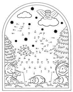 Coloring by numbers: Painting by numbers: Nativity scene free of charge  #charge #coloring #nativity #numbers #painting #scene Vánoční Pracovní Listy, Bezplatné Omalovánky, Tisky Zdarma, Ruční Výrobky Na Téma Bible, Nedělní Škola