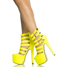 CiCiHot Neon Yellow Faux Leather Caged Platform Stiletto Heels ($38) ❤ liked on Polyvore featuring shoes, pumps, caged shoes, stiletto heel pumps, heels stilettos, faux leather shoes and platform stilettos