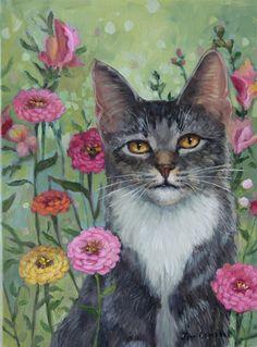 """Zinnia Paradise"" original fine art by Joy Campbell"