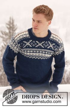 "Knitted DROPS men's jumper with Norwegian pattern in ""Karisma"". Size: S - XXXL."