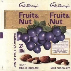 Cadburys Retro Fruit & Nut chocolate bar wrapper 70s Sweets, Vintage Sweets, Retro Sweets, Cadbury Chocolate, Chocolate Sweets, Chocolate Bars, My Childhood Memories, Sweet Memories, Cadbury Fruit And Nut