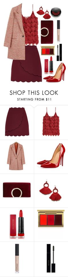 """Holiday Party"" by alyssatama ❤ liked on Polyvore featuring Ted Baker, Christian Louboutin, Jessica McClintock, Max Factor, MAC Cosmetics, Bare Escentuals, Gucci and Rituel de Fille"