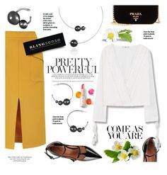 """""""Street Style"""" by blingsense ❤ liked on Polyvore featuring Topshop, Prada, RED Valentino, MANGO and L'Oréal Paris"""