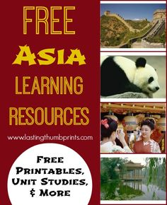 This great Asia Unit Study from Lasting Thumbprints includes printables, Unit Studies, activities,  links to resources, and More! Learn about:
