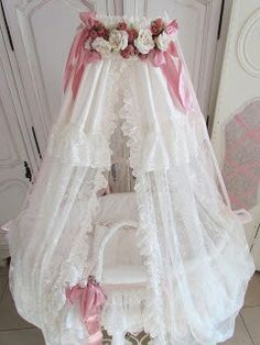Victorian lace moses basket.
