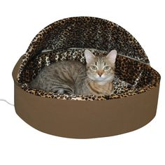 K&h Pet Products Thermo-Kitty Bed Deluxe Small Mocha (Brown)/Leopard 16 4W