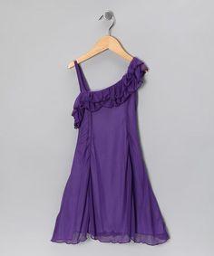 Love this Purple Asymmetrical Ruffle Dress - Toddler & Girls on #zulily! #zulilyfinds $16.99