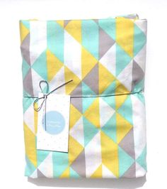 Organic Fitted Crib / Cot Sheet - on Point in Mint,Yellow,grey & White,Triangles, Geometric on Etsy, $55.61