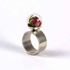 Resin Ring with Wild Rose SIlver Ring Resin Jewellery
