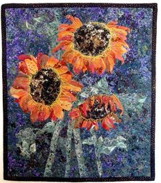 Art Quilted  Summer Sunflowers  Wall Hanging