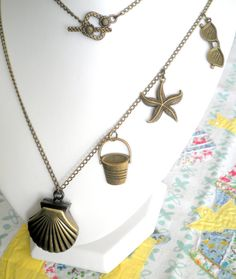 Summer Rockpooling - Antiqued Bronze Pocket Watch Shell Pendant Necklace