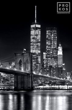 Brooklyn Bridge and Lower Manhattan Skyscrapers at Night (B&W)