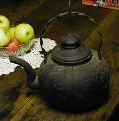 Vintage Cast Iron Kettle  Coffee Pot  Very Old and by Idugitup