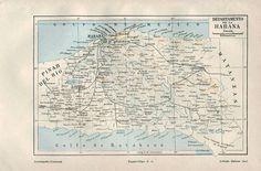 Map Havana Province Cuba La Habana by CarambasVintage Map Of Cuba, City Maps, Havana, 1920s, Vintage World Maps, How To Plan, Etsy, Map Cuba