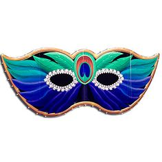 This colorful Peacock Mask Standee dazzles as part of your Mardi Gras decor. Each Peacock Mask Stand Up measures 3 feet high.