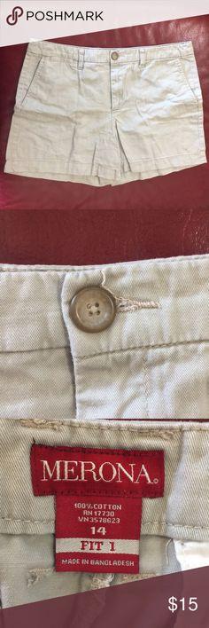 Merona Khaki Shorts Size 14 Merona Khaki Shorts Size 14 Gently used. No fading. Merona Shorts