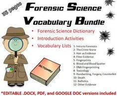 This is a bundle of 12 chapters of Forensic Science Vocabulary lists and chapter introduction activities, as well as a complete Forensic Science Dictionary which includes 191 words and their definitions. ** Each chapter is a separate file. In total there are 35 pages.** All files come in both editab... Science Vocabulary, Vocabulary List, Introduction Activities, Stem Activities, Dna Fingerprinting, Forensic Science, Teaching Biology, Organic Chemistry, Forensics