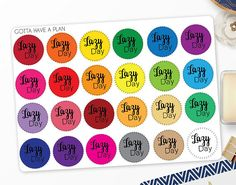 Planner Stickers Lazy Day for Erin Condren Happy Planner