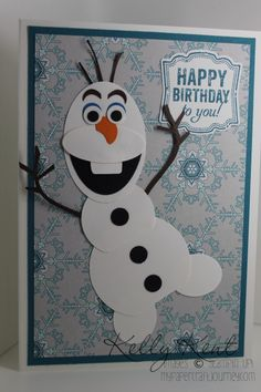The final card in the Frozen series is the very lovable Olaf. There are lots of variations floating around cyberspace, here is mine to add to the mix. Punch art characters remain my first love! Kids Birthday Cards, Handmade Birthday Cards, Birthday Parties, Frozen Cards, Frozen Frozen, Disney Frozen, Tarjetas Diy, Punch Art Cards, Paper Punch Art