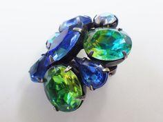 Vintage Colored Rhinestone Earrings Clip On by LittleBlackVanities