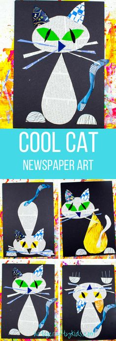 Arty Crafty Kids | Art | Cool Cat Newspaper Art for Kids | A fun recycled cat art project using recycled newspaper and magazines. With the help of a free template kids can make a cat that can strike multiple cool poses! #cool_crafts_stuff
