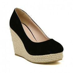 New Arrival Weaving and Suede Design Wedge Shoes For Women, BLACK, 39 in Wedges | DressLily.com