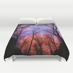 Moonrise Canyon Duvet Cover by Pirmin Nohr - $99.00  My most faved and best sold pic on S6, now available as duvet cover!  The fullmoon rising in the background of this canyon in the forest  Nature, trees, silhouettes, sky, night, clouds