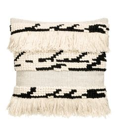 Check this out! Cushion cover in textured-weave cotton fabric with fringe at front, woven back section, and a concealed zip. - Visit hm.com to see more.