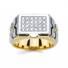 Round Diamonds Men Fancy Ring Two Tone Gold 14k 0.55 CARATS