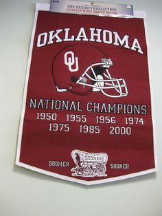 Show your University of Oklahoma football spirit with this National Championship Banner!