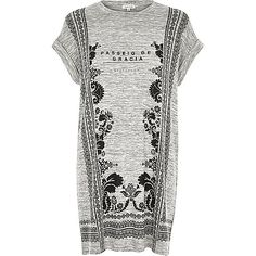 Grey slogan print oversized t-shirt - print t-shirts / vests - t shirts / vests / sweats - women
