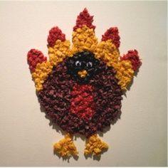 Preschool Crafts for Kids*: Thanksgiving Tissue Paper Turkey Craft