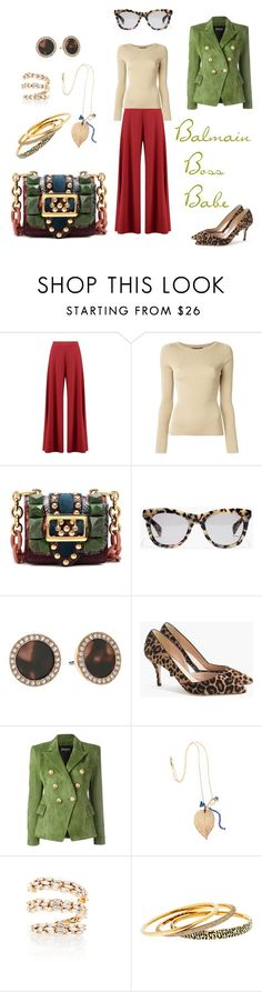 """""""Balmain Boss Babe"""" by michele-nyc ❤ liked on Polyvore featuring Boohoo, Dolce&Gabbana, Burberry, J.Crew, Michael Kors, Balmain, Miss High & Low and Suzanne Kalan"""