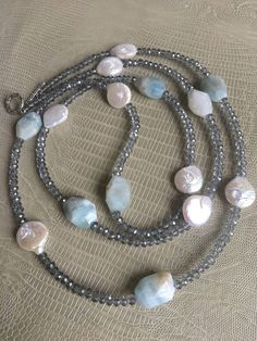 Long aquamarine stone and pearl necklace