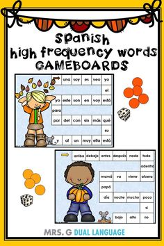 Spanish High Frequency Words Game Boards and row Games Fall Themed Bilingual Classroom, Bilingual Education, Classroom Language, Spanish Classroom, Vocabulary Games, Word Games, Spanish Language Learning, Teaching Spanish, Teaching Activities
