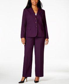 f25861695c81e Le Suit Plus Size Three-Button Pantsuit Women - Wear to Work - Macy s