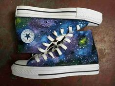2014 New Galaxy Hand Painted High-top Canvas Sneaker Shoes