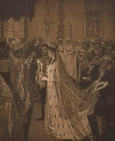 An illustration of the marriage ceremony of Nicholas II and Empress Alexandra: Nov. 1894.