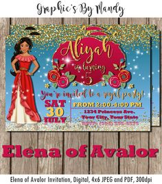 Elena of Avalor Birthday Invitation Disney by GraphicsByMandy