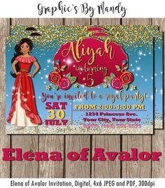Elena Of Avalor Birthday Invitation Disney By GraphicsByMandy