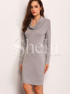 Shop Grey Long Sleeve Turtleneck Sheath Dress online. SheIn offers Grey Long Sleeve Turtleneck Sheath Dress & more to fit your fashionable needs.