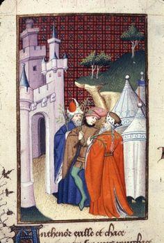 Harley 4431 fol 138v detail (Antenor). Paris, France 1410-1414.