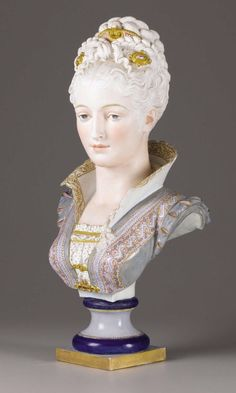 A French Ceramic Bust Paul Duboy French Late century Marie Antoinette, Jean Leon, Half Dolls, Porcelain Ceramics, Porcelain Doll, Painted Porcelain, Bisque Doll, French Art, Hand Painting Art